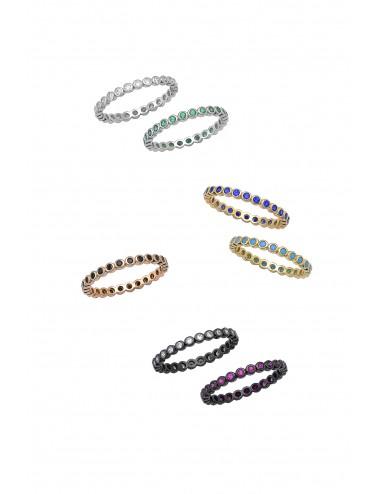 Ασημένιο δαχτυλίδι ολόβερο με πέτρες ζιργκόν