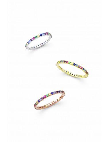 Ασημένιο γυναικείο δαχτυλίδι με πολύχρωμες πέτρες