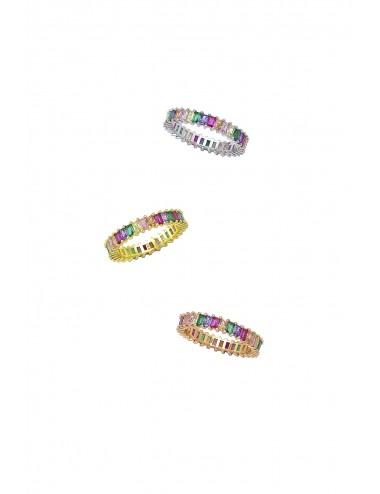 Ασημένιο γυναικείο δαχτυλίδι με πολύχρωμες πέτρες ζιργκόν