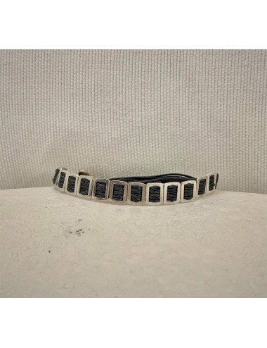 Handmade silver bracelet with cords